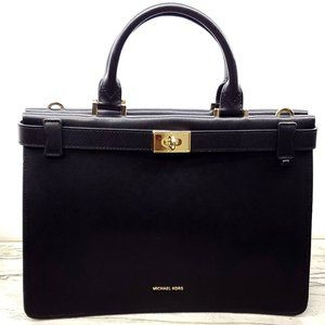 Michael Kors Tatiana Medium Leather Satchel Black